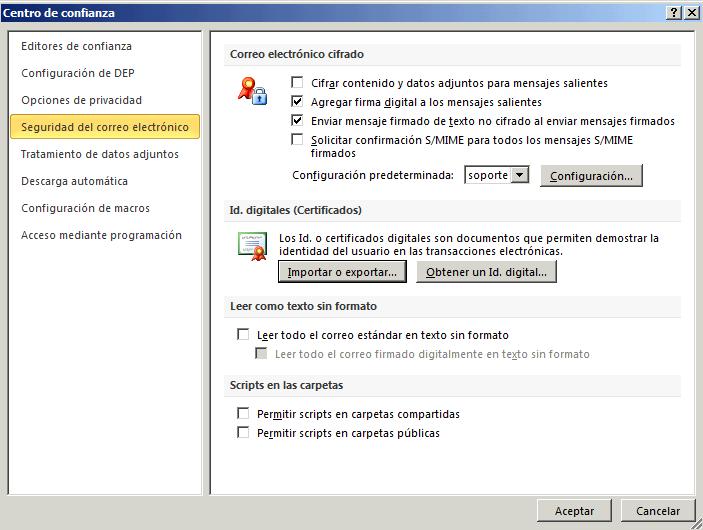 Instalar firma digital de correo electrónico en Microsoft Outlook