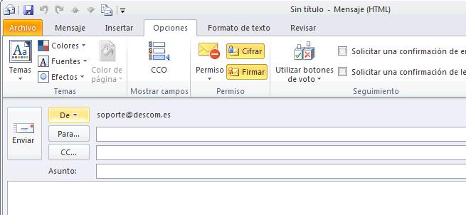 Firma electrónica con Outlook