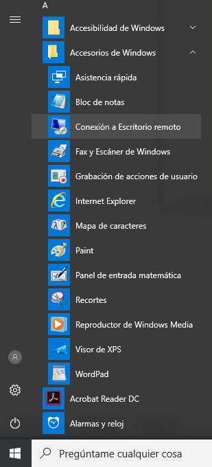 Conexion a escritorio remoto en el menú de Windows 10