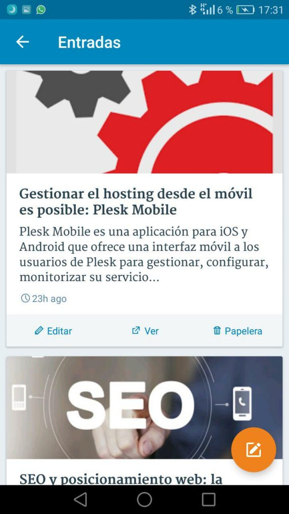APP WordPress mobile - Gestión de entradas