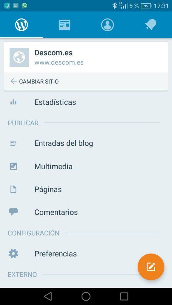 APP WordPress mobile - Gestión del sitio