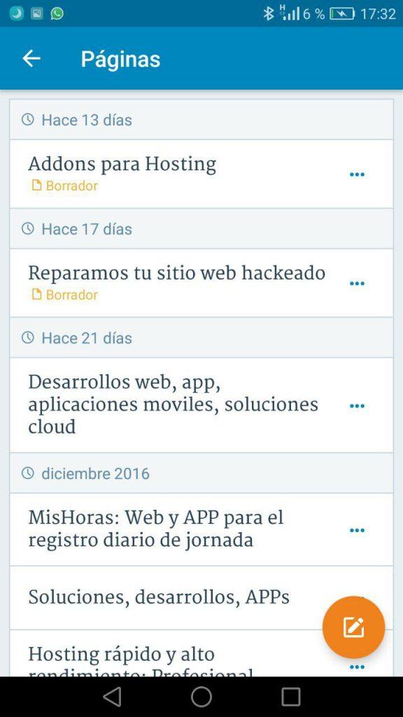 App WordPress mobile - Gestión de páginas