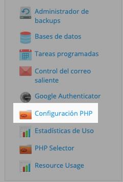 Actualizar configuracion PHP